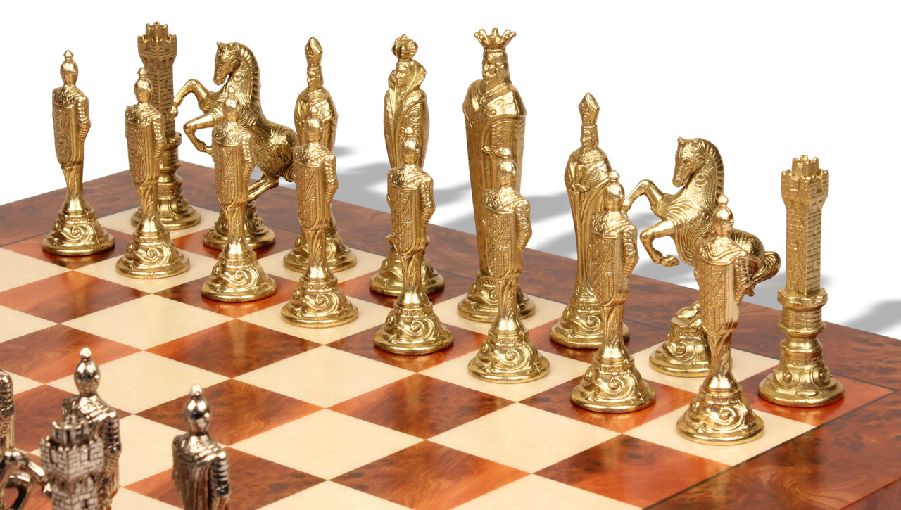 Gold Chess Pieces Renaissance Theme Metal Chess Set With Elm Burl Chess Board