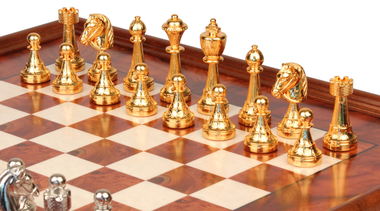 Gold Chess Pieces Italian Arabesque Staunton Gold Silver Chess Set With Elm Burl Chess Case