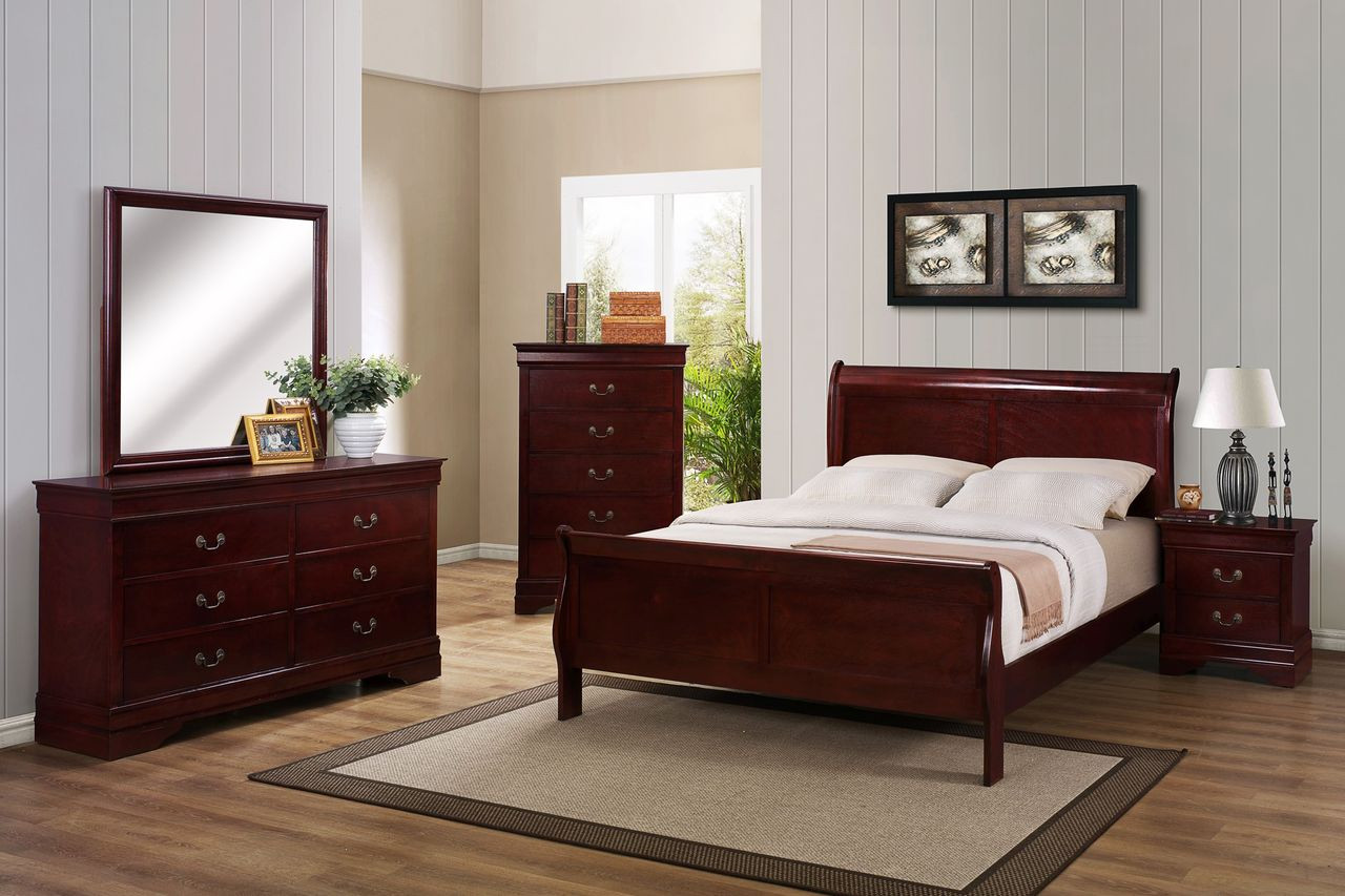 Black Bedroom Suite Cherry Finish Louie Philippe 5pc Set Chablis Or Onyx
