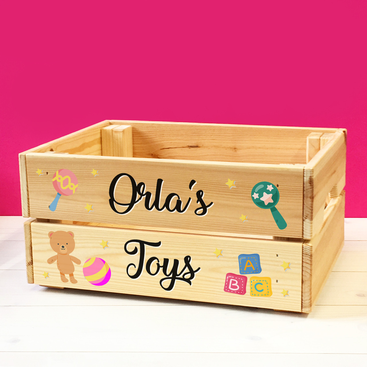 Toy Box Toys Personalised Babies Toddlers Toys Wooden Storage Toy Box Crate For Children