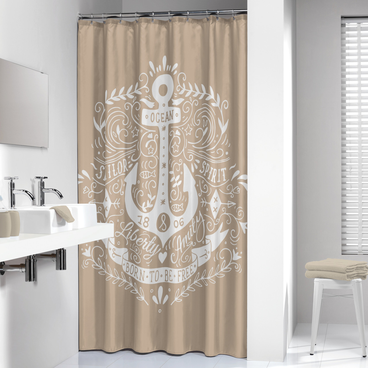 Long Shower Curtain Extra Long Shower Curtain 72 X 78 Inch Sealskin Anchor Beige And White Fabric