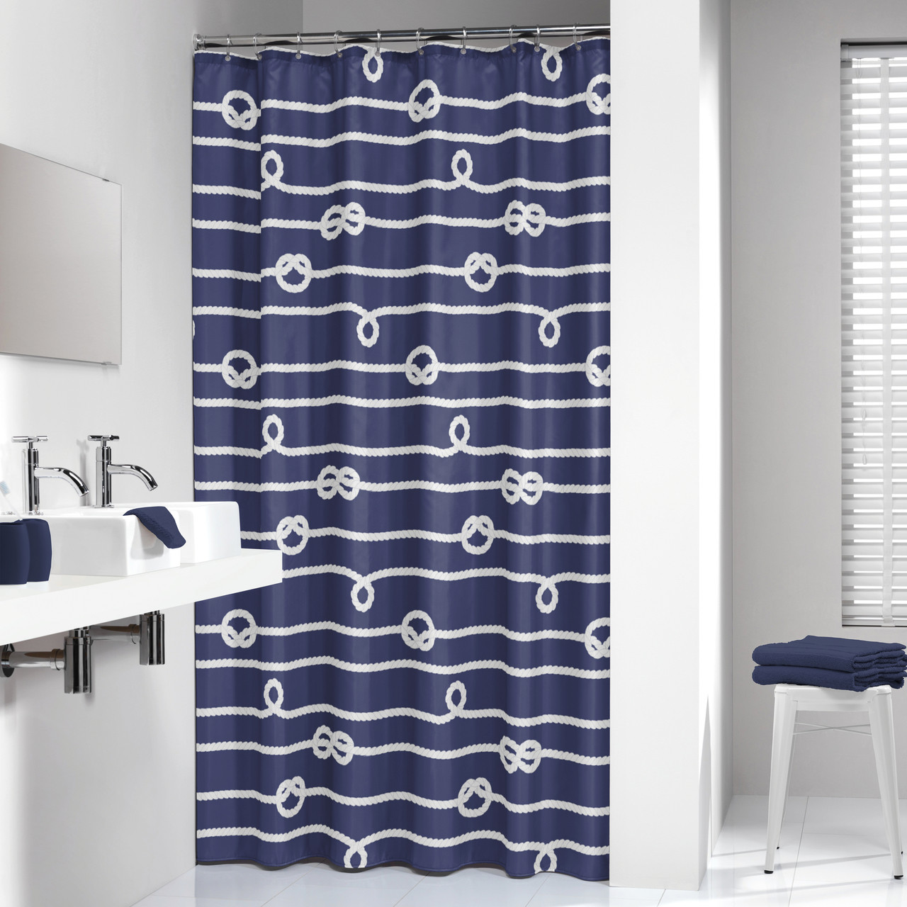 Rope Curtain Extra Long Shower Curtain 72 X 78 Inch Sealskin Nautical Rope Blue Fabric