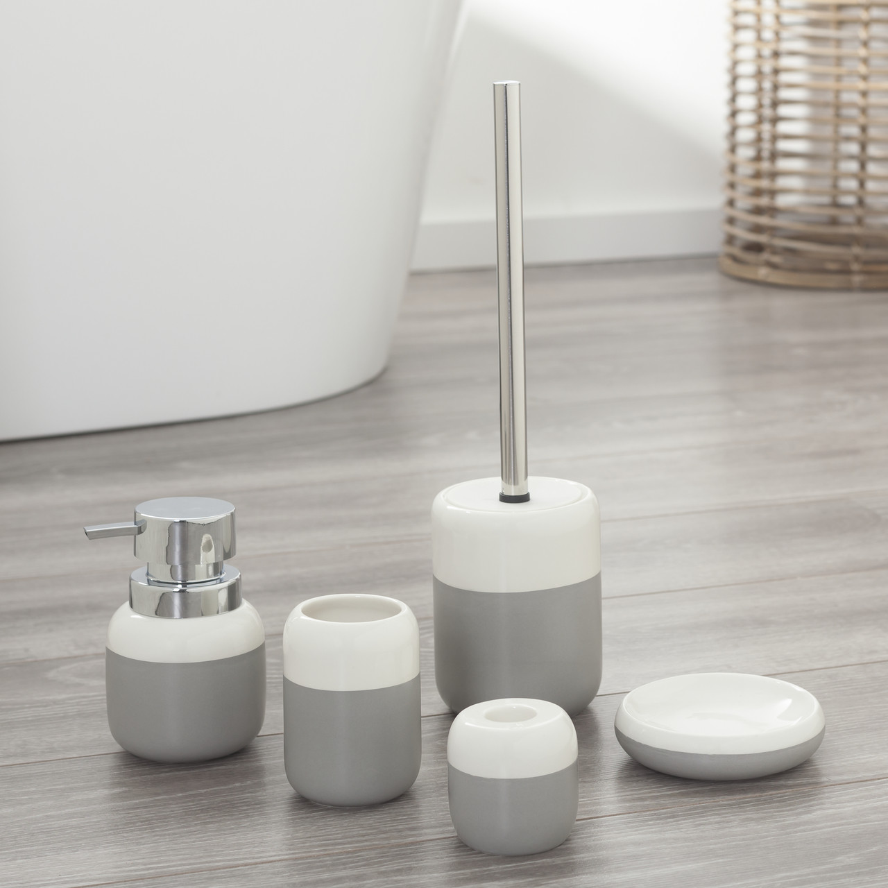 Bathroom Accessories 5 Piece Bathroom Accessories Set Sealskin Sphere Gray And White Porcelain