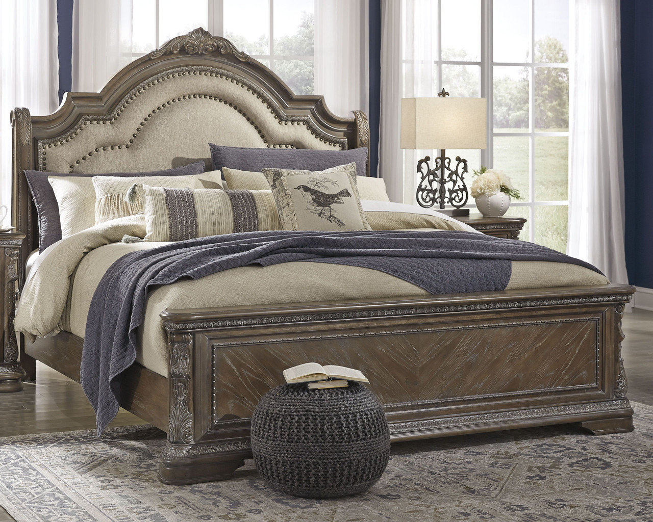 Charmond Brown California King Upholstered Sleigh Bed On Sale At American Furniture Of Slidell Serving Slidell La