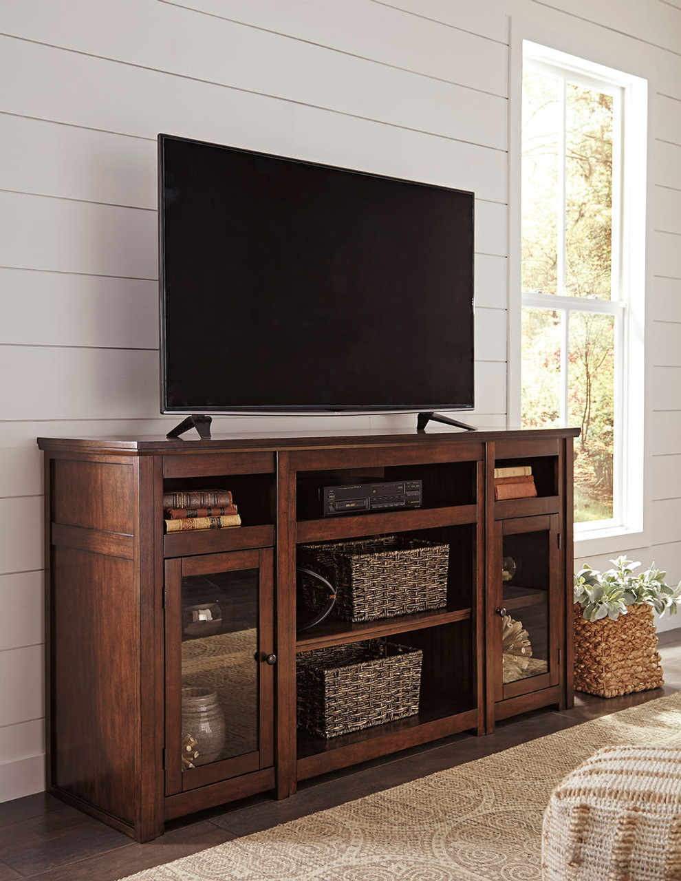 Sofa Jacksonville Xl The Harpan Reddish Brown Xl Tv Stand With Fireplace Option