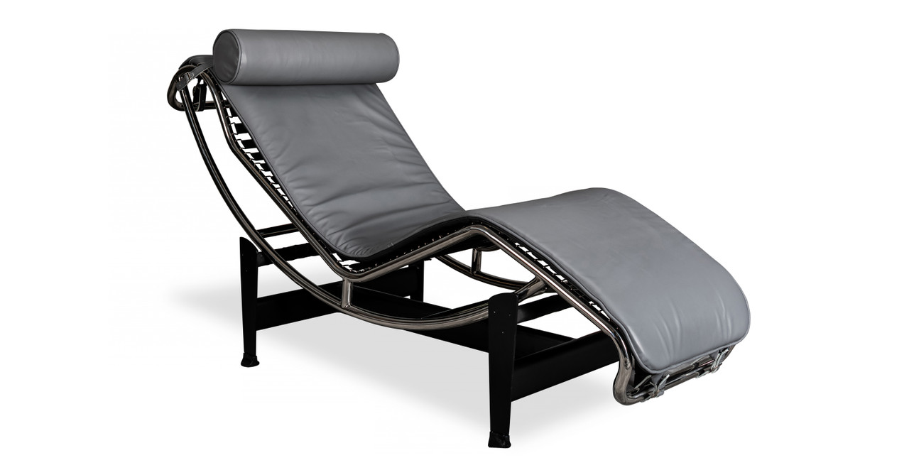 Chaise Longue Acapulco Gravity Chaise Lounge Seal Grey Aniline Leather
