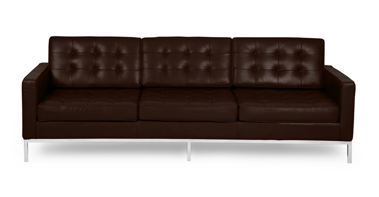 Knoll Sofa Florence Sofa Choco Brown Premium Leather