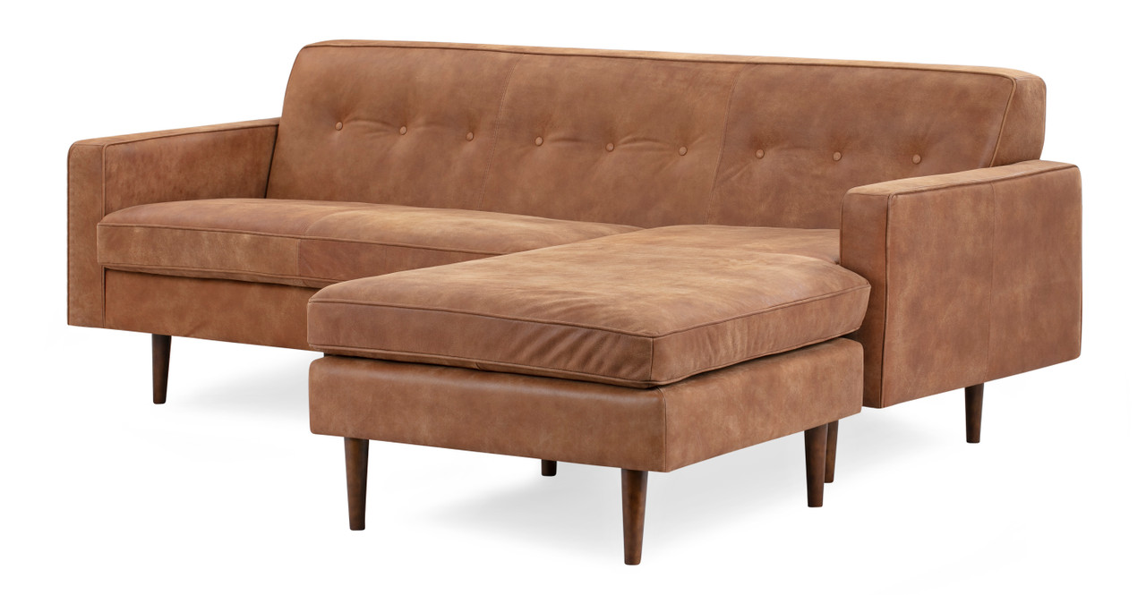 Sofa Cognacfarben Eleanor Sectional Right Chaise 85