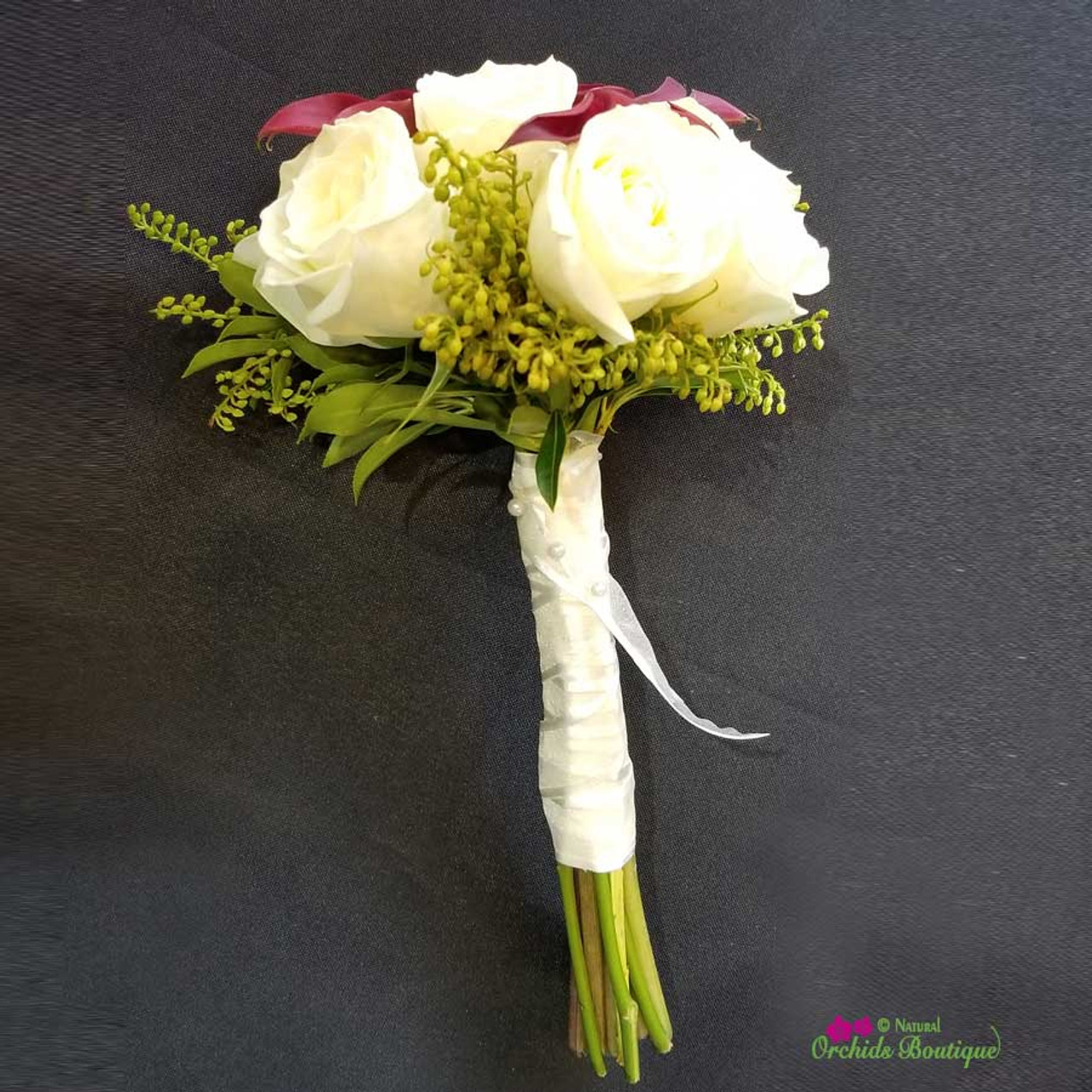 Roses And Calla Lilie Prom Bouquet Natural Orchids