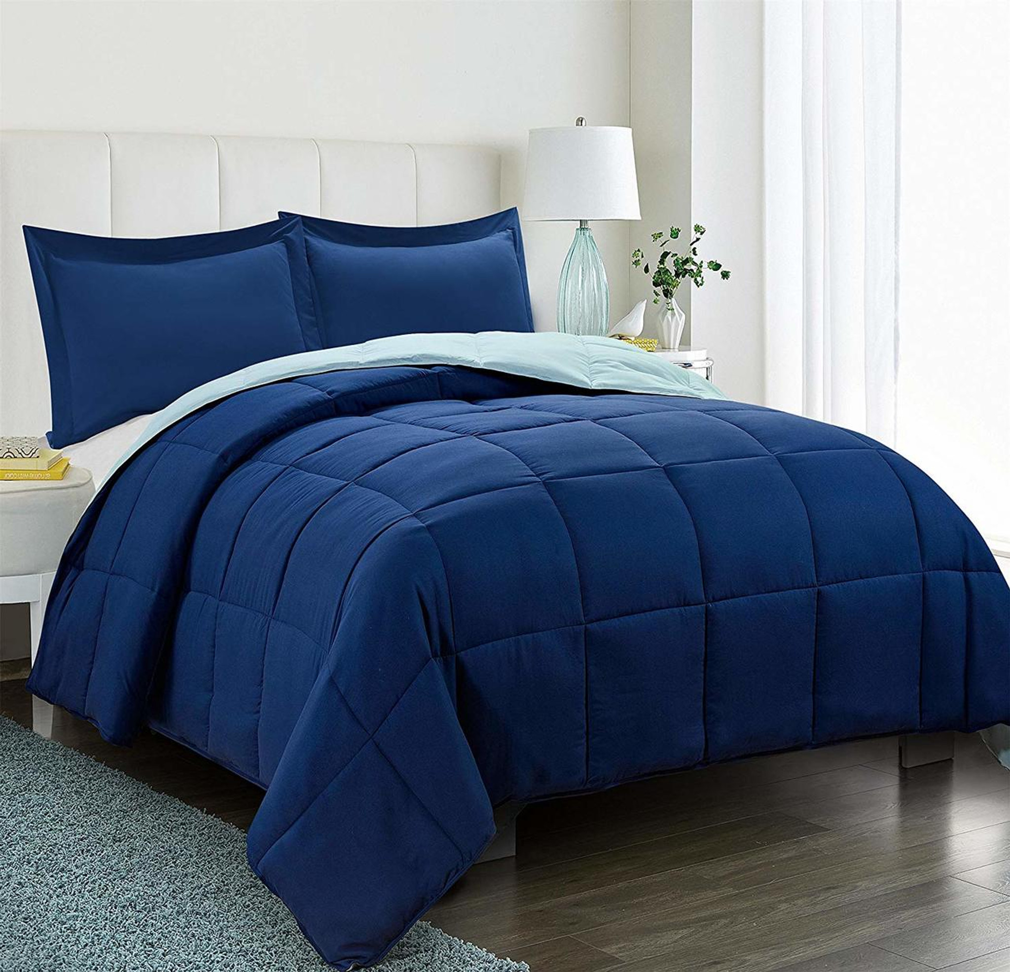 Duvet And Comforter Sets 3pc Down Alternative Comforter Set Navy Blue All Season Reversible Comforter With Two Shams Quilted Duvet Insert With Corner Tabs Box
