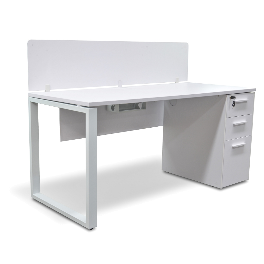 White Office Desk Modern Executive Office Desk With Privacy Screen And Pedestal White