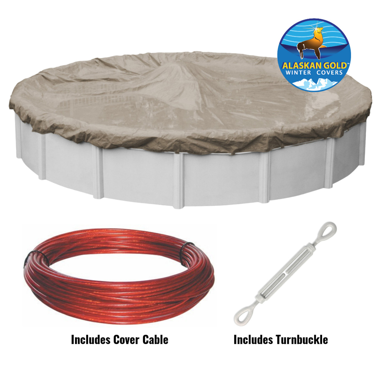 Above Ground Pool Winter Cover 24 Ft Round Alaskan Gold Or Silver Above Ground Winter Swimming Pool Cover Includes Cable And Turnbuckle
