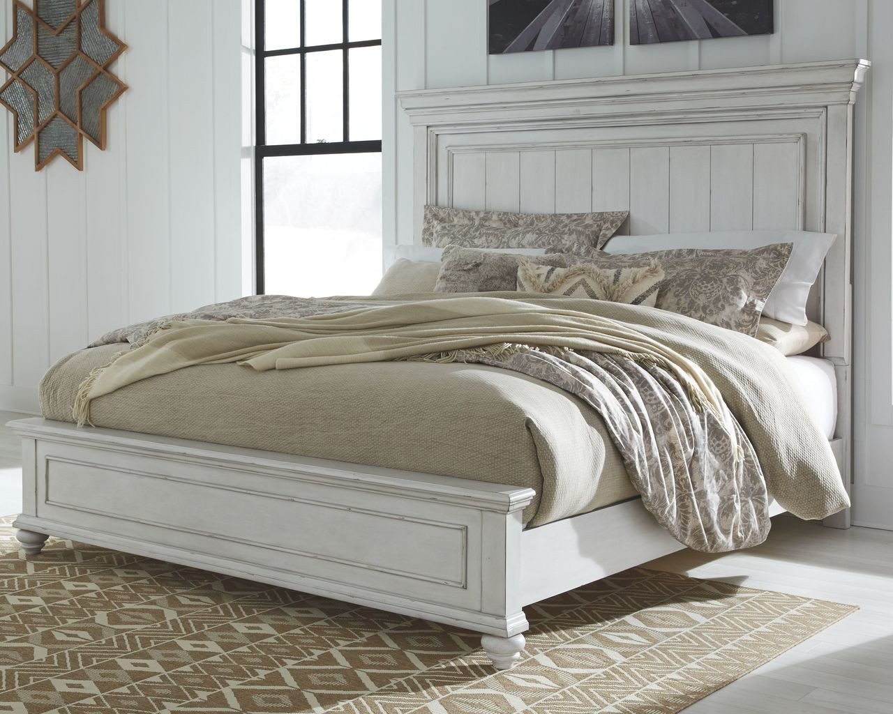 The Kanwyn Whitewash California King Panel Bed Available At Nashco Furniture And Mattress Serving Nashville Tn