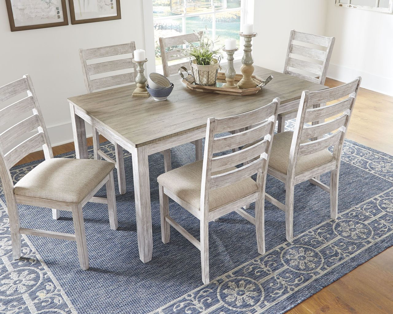 The Skempton White Light Brown Dining Room Table Set 7 Cn Available At Furniture Connection Serving Clarksville Tennessee And Ft Campbell Kentucky