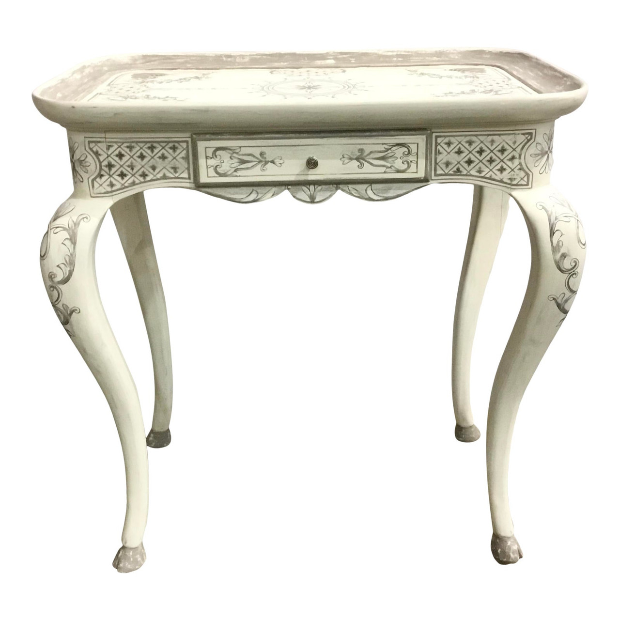 French Country John Richard Hand Painted White And Gray End Table United States