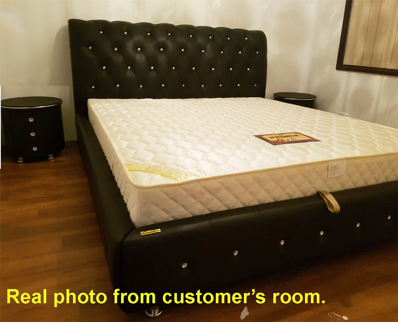 Leather Bed Black Leather Bed King Size Gas Lift Base Storage