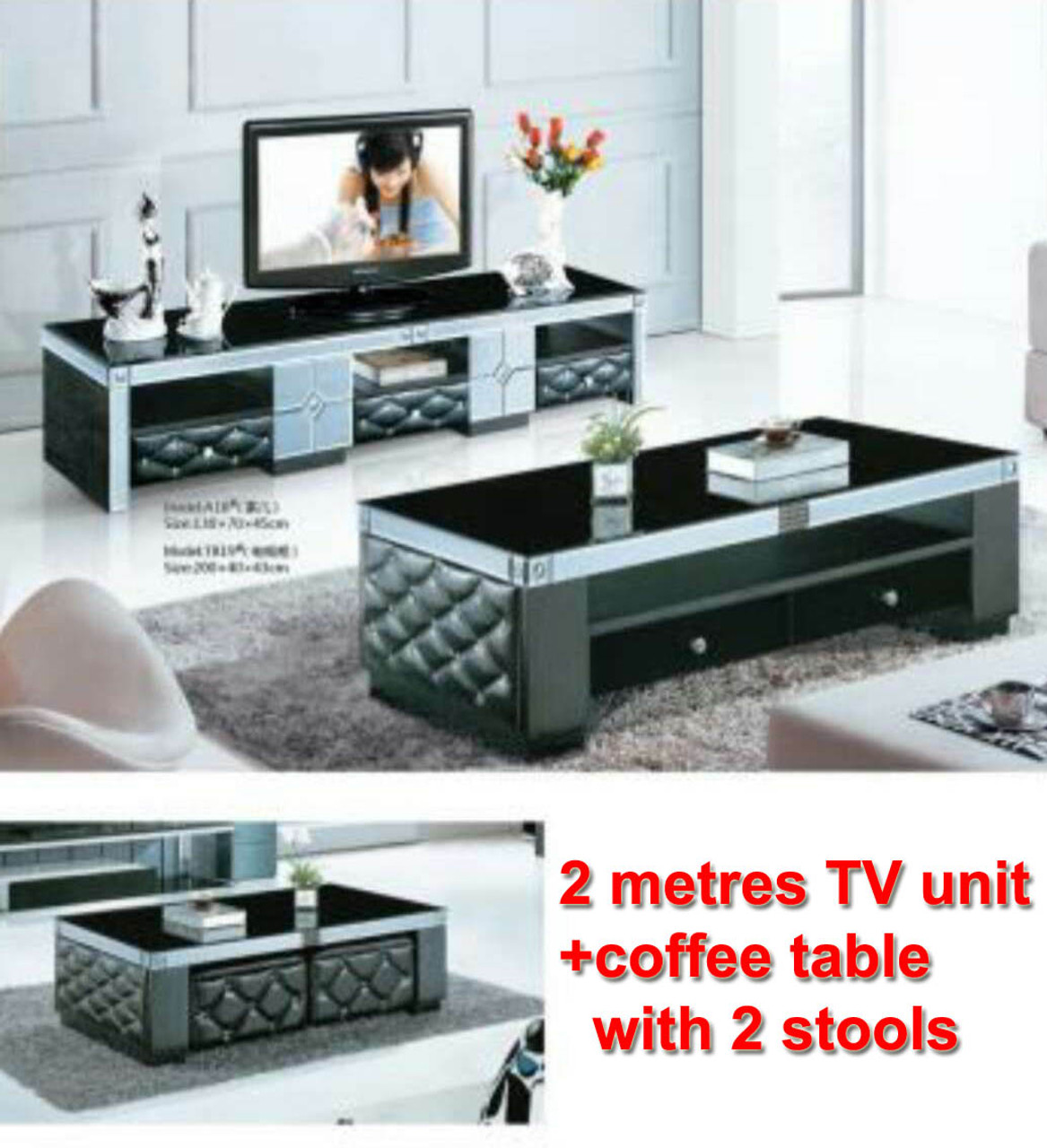 Tv Unit Cheap 2 Meters Lowline Tv Cabinet Coffee Table