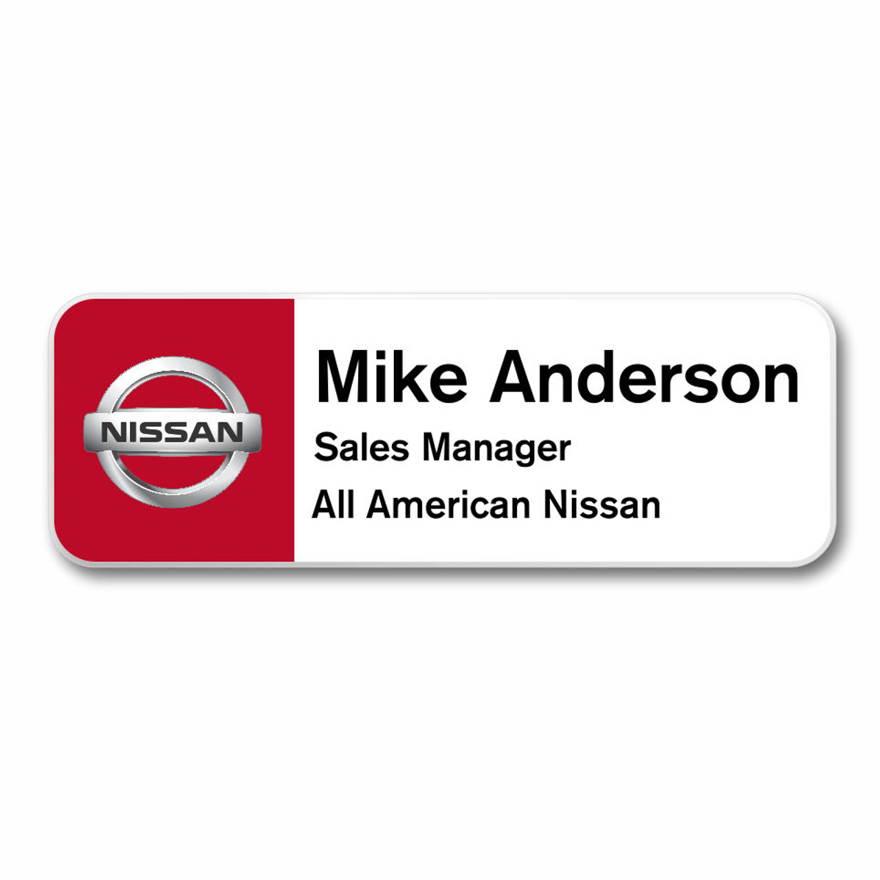 / Name Nissan White Red Name Badge