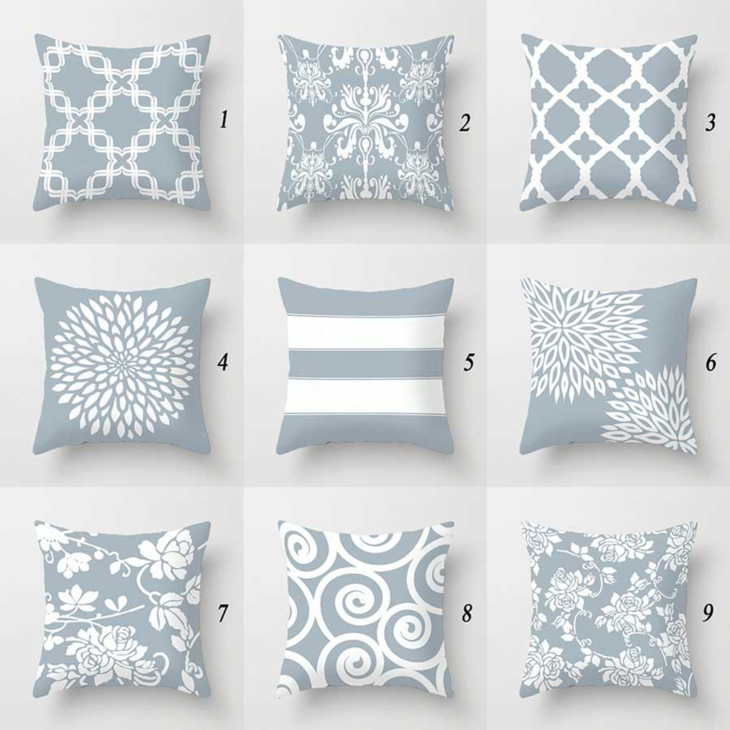 Designer Pillow Covers Geometric Floral Damask Patterns In Pale Blue Gray And White