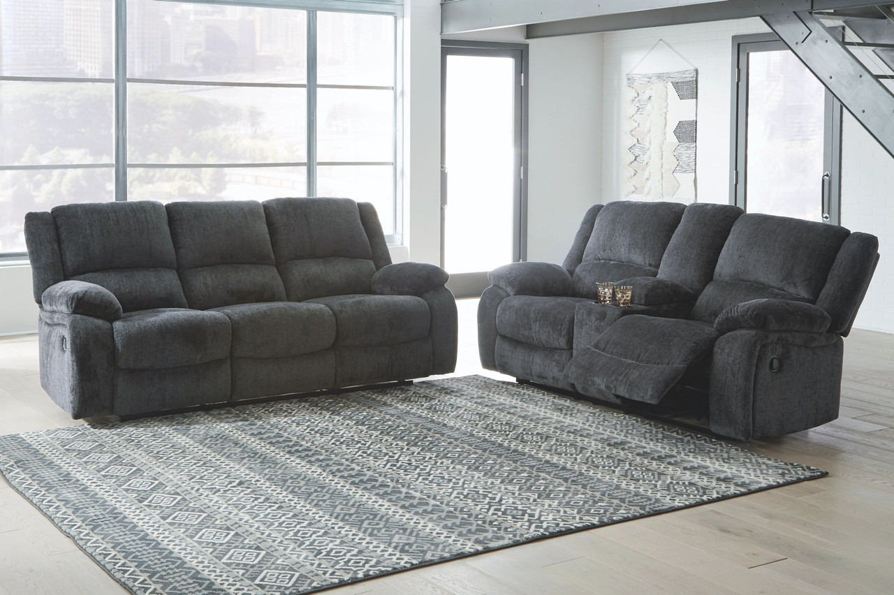 Draycoll Slate Reclining Sofa Double Reclining Loveseat With Console On Sale At Stringer Furniture Serving Jackson Ms