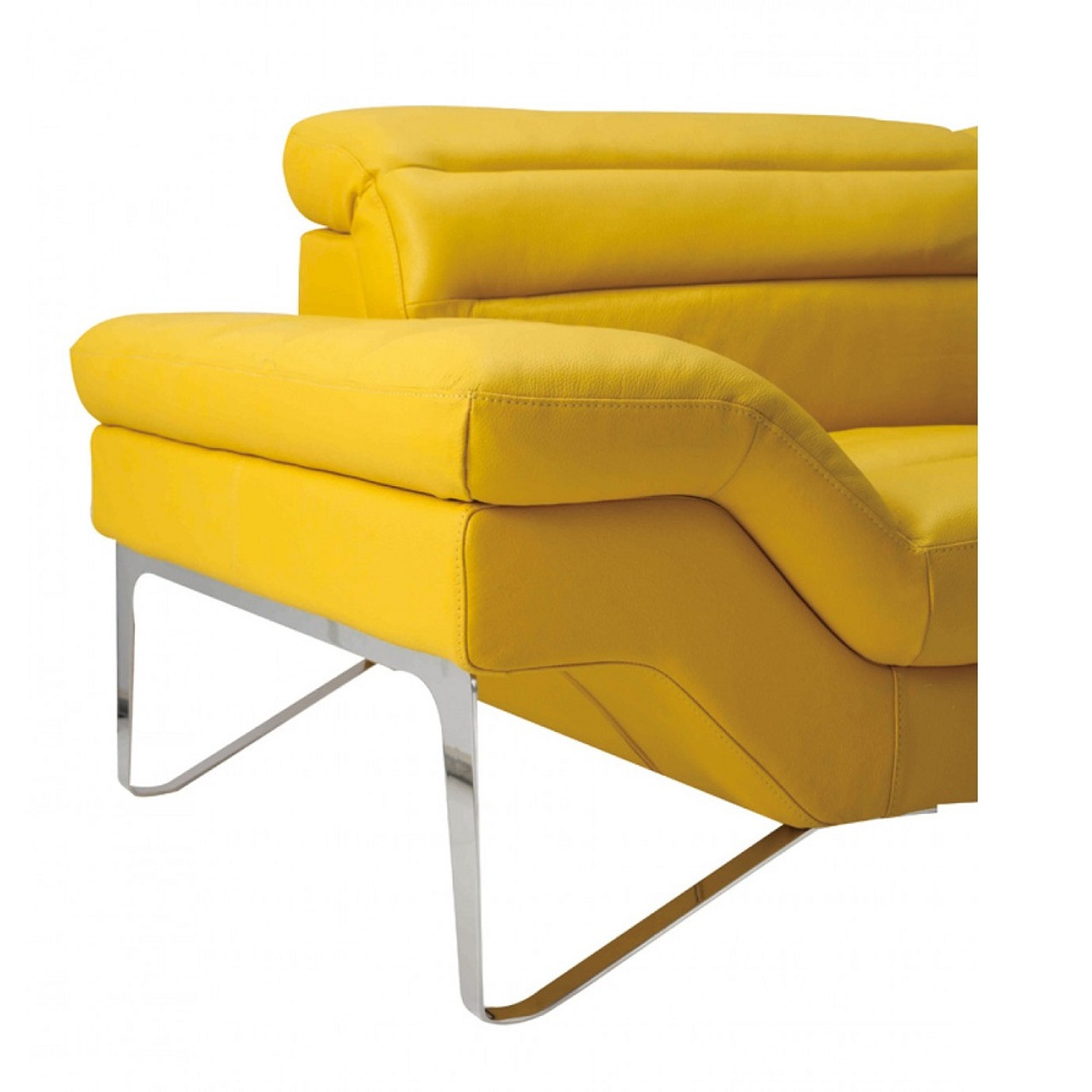 Divani Casa Leven Modern Yellow Leather Sectional Sofa Lounge La