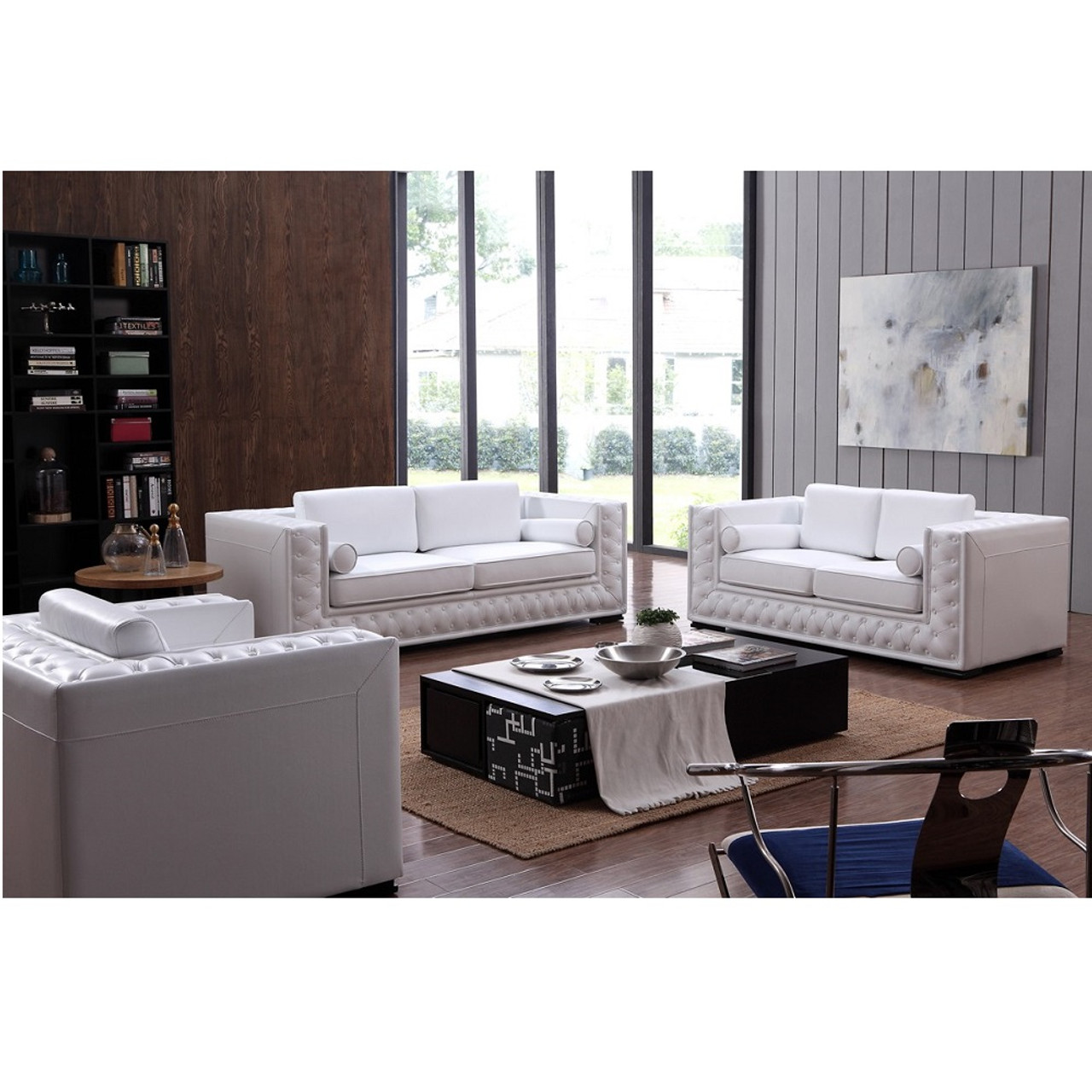 Divani Casa Encore Divani Casa Dublin Modern White Leather Sofa Set W Buttons