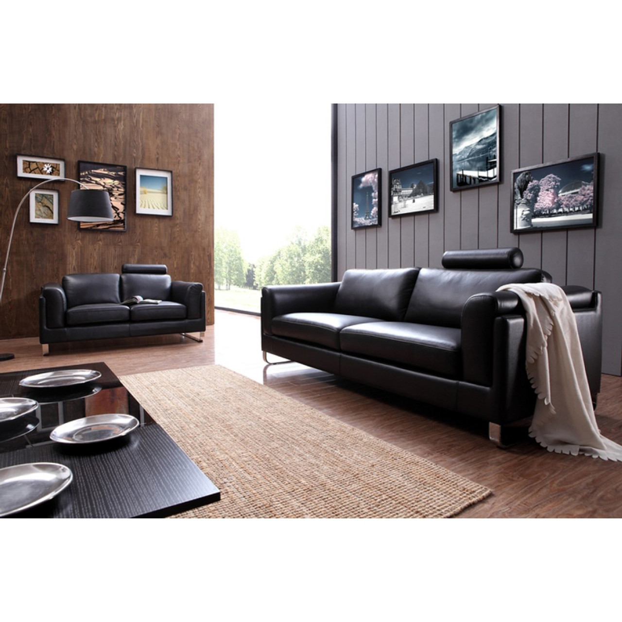 Divani Leather Sofa For Sale Divani Casa 0875 Modern Black Leather Sofa Set