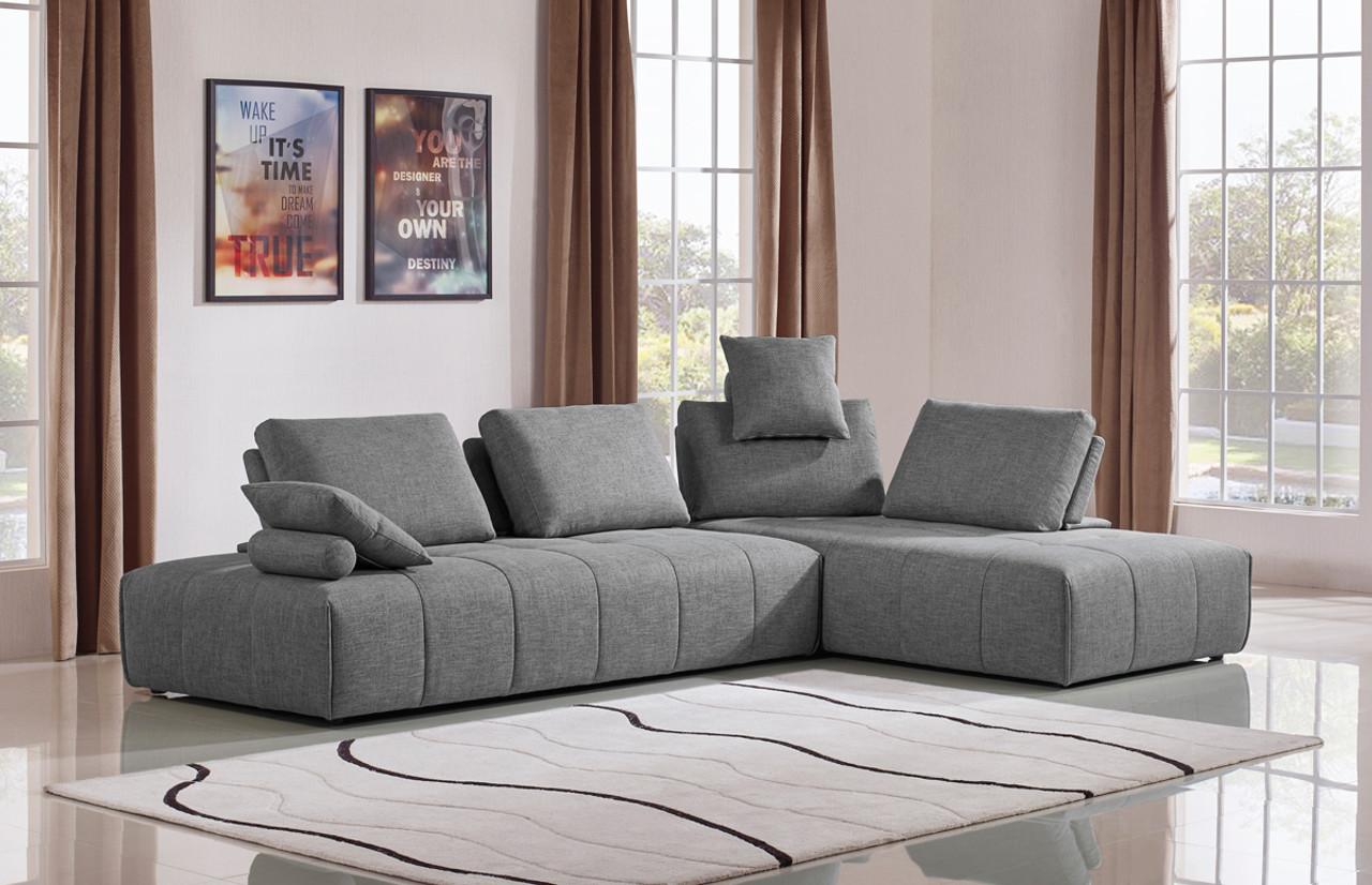 Grey Sofa In Lounge Divani Casa Edgar Modern Grey Fabric Modular Sectional Sofa