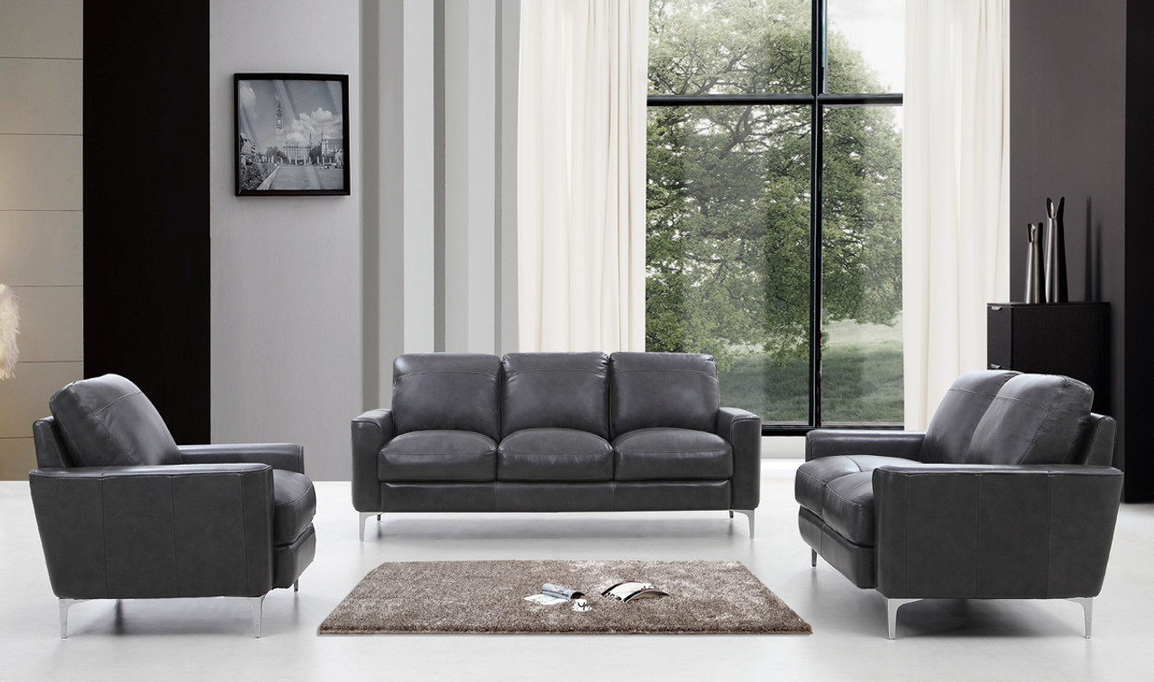 Divani Leather Sofa For Sale Divani Casa Empire Modern Dark Grey Leather Sofa Set