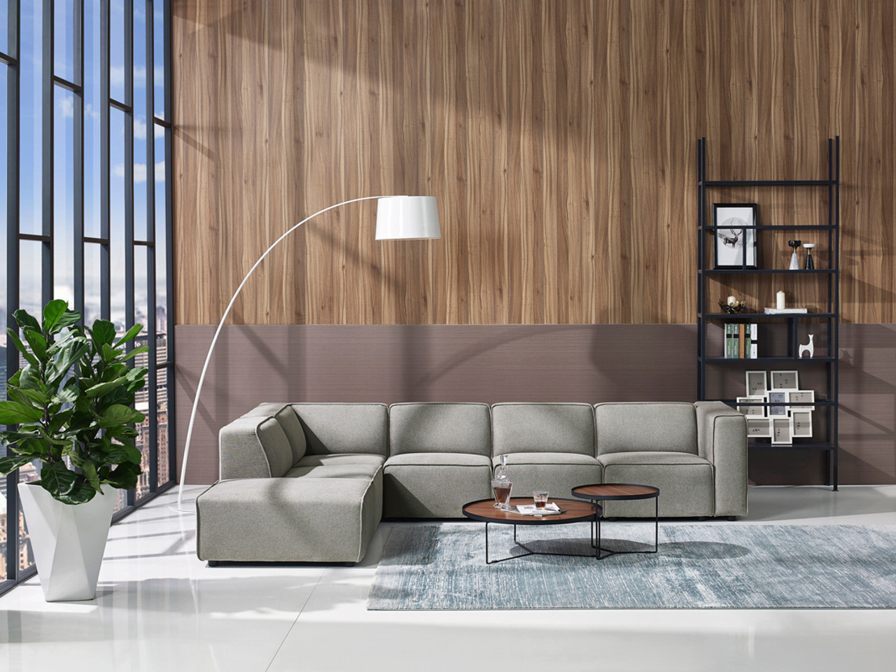 Grey Sofa In Lounge Divani Casa Fergus Modern Grey Fabric Modular Sectional Sofa