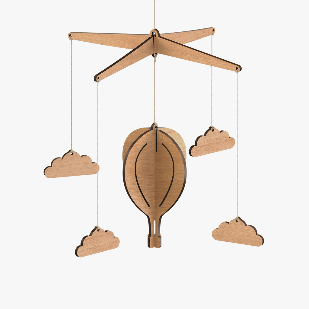 Wooden Baby Mobile Hot Air Balloon Baby Mobile