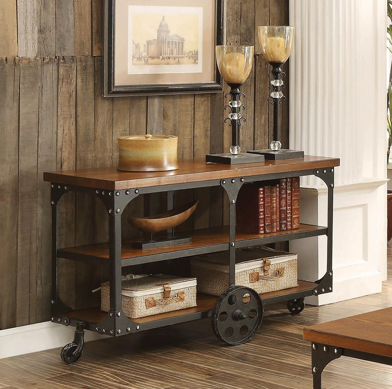 Living Room Industrial Rustic Occasional Tables Roy Sofa Table With 2 Shelf Rustic Brown 701129 At Altman S Billiards And Barstools