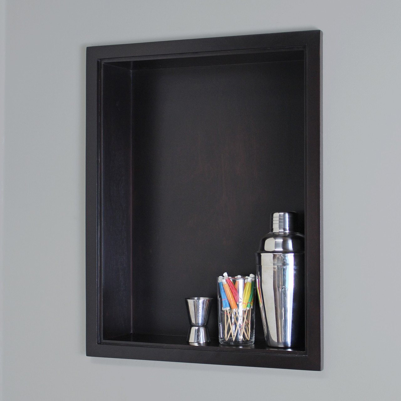 14 X 18 Recessed Medicine Cabinet 14x18 Dark Brown Recessed Sloane Wall Niche W Plain Back And No Shelf