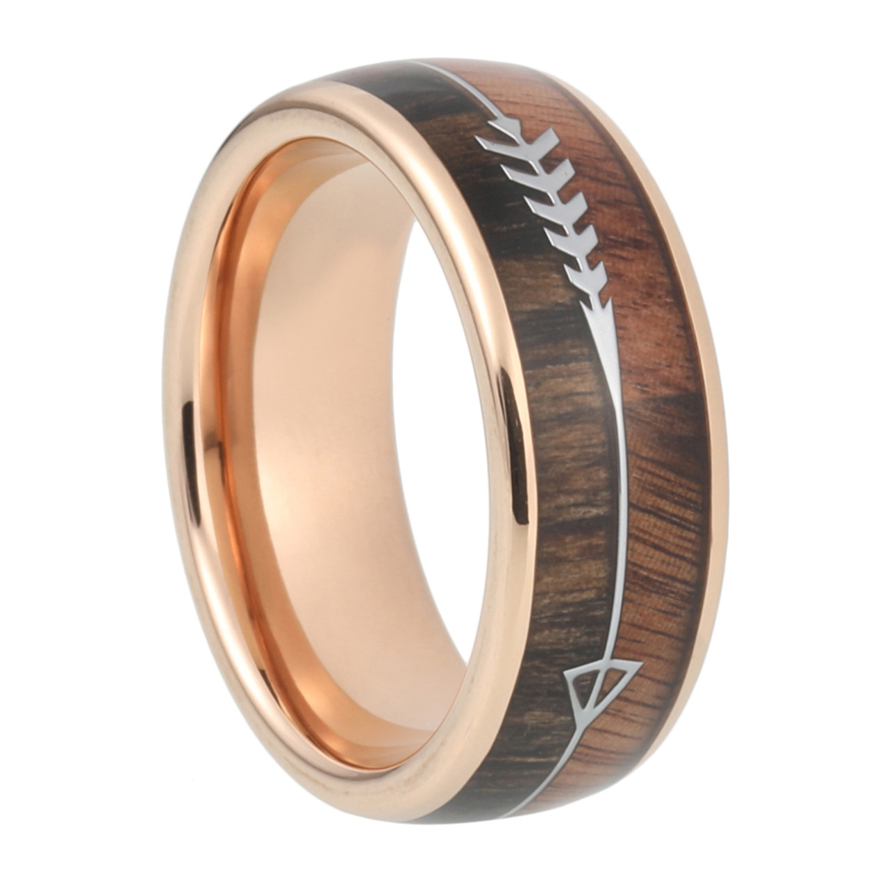 8 Mm 8 Mm Koa Zebra Arrow Design With Rose Gold Sleeve In Tungsten A090c