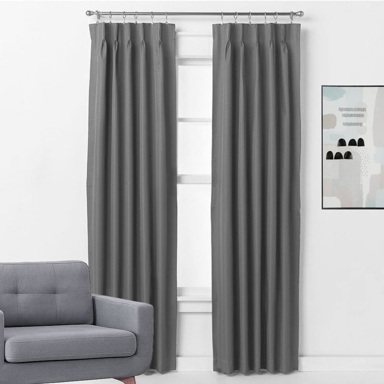 Grey Thermal Curtains Bond Pinch Pleat Room Darkening Soft Drape Curtains Charcoal