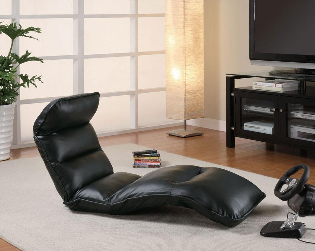 Leather Lounge Jerrel Black Leather Lounge Chair Padded Seat