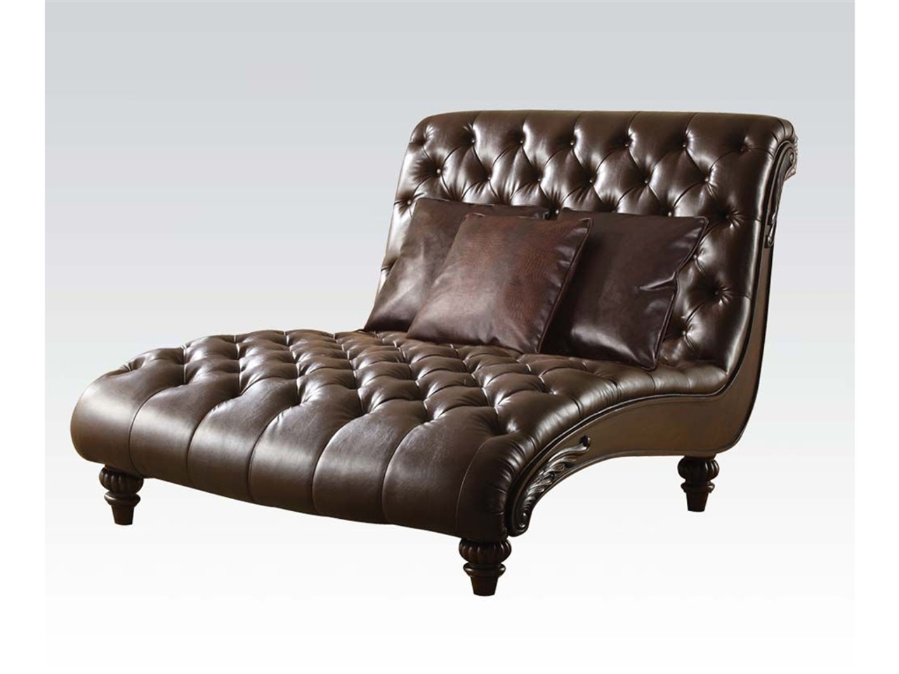 Leather Lounge Stanley Espresso Leather Lounge Chaise With Pillows