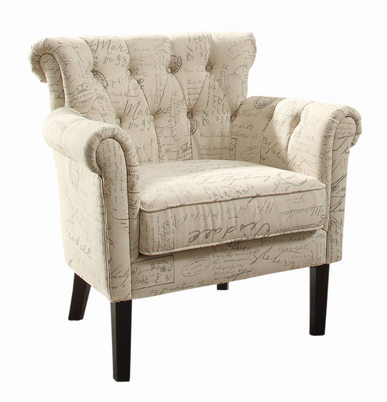 Accent Arm Chairs Melody Vintage Print Fabric Tuffted Back Accent Arm Chair