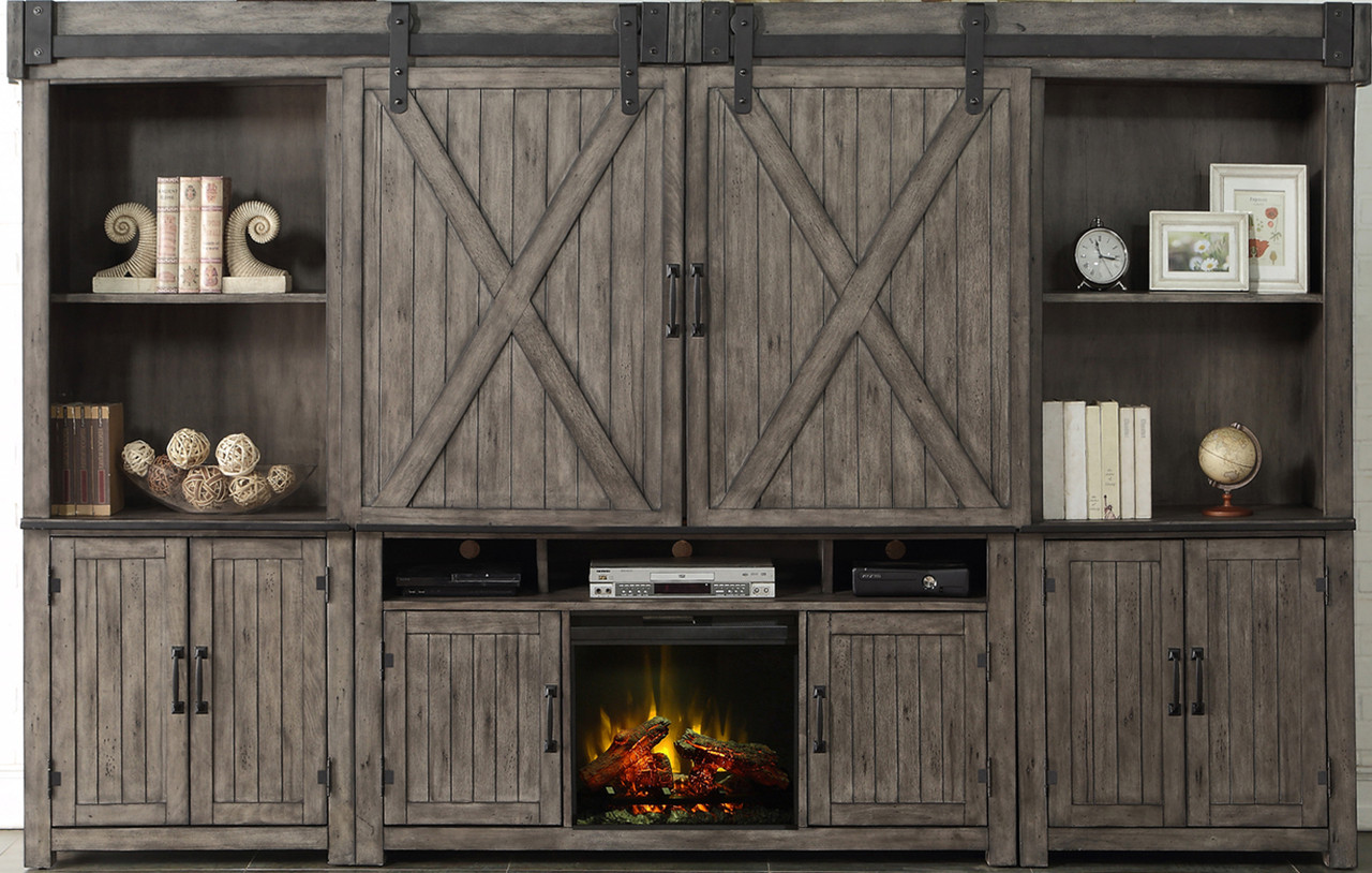 Fireplace Wall Units Cartwright Smoked Grey Fireplace Entertainment Wall Unit With Sliding Doors