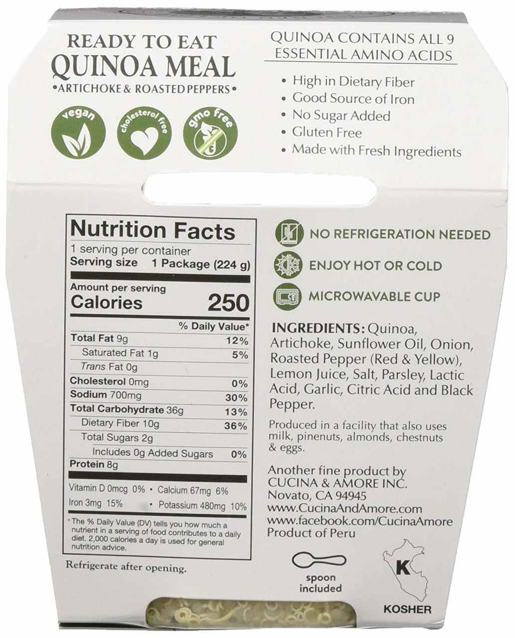 Cucina And Amore Quinoa Review Kitchen Love Quinoa Meal Artichokes Roasted Pepper 7 9 Oz Cup 6 Count
