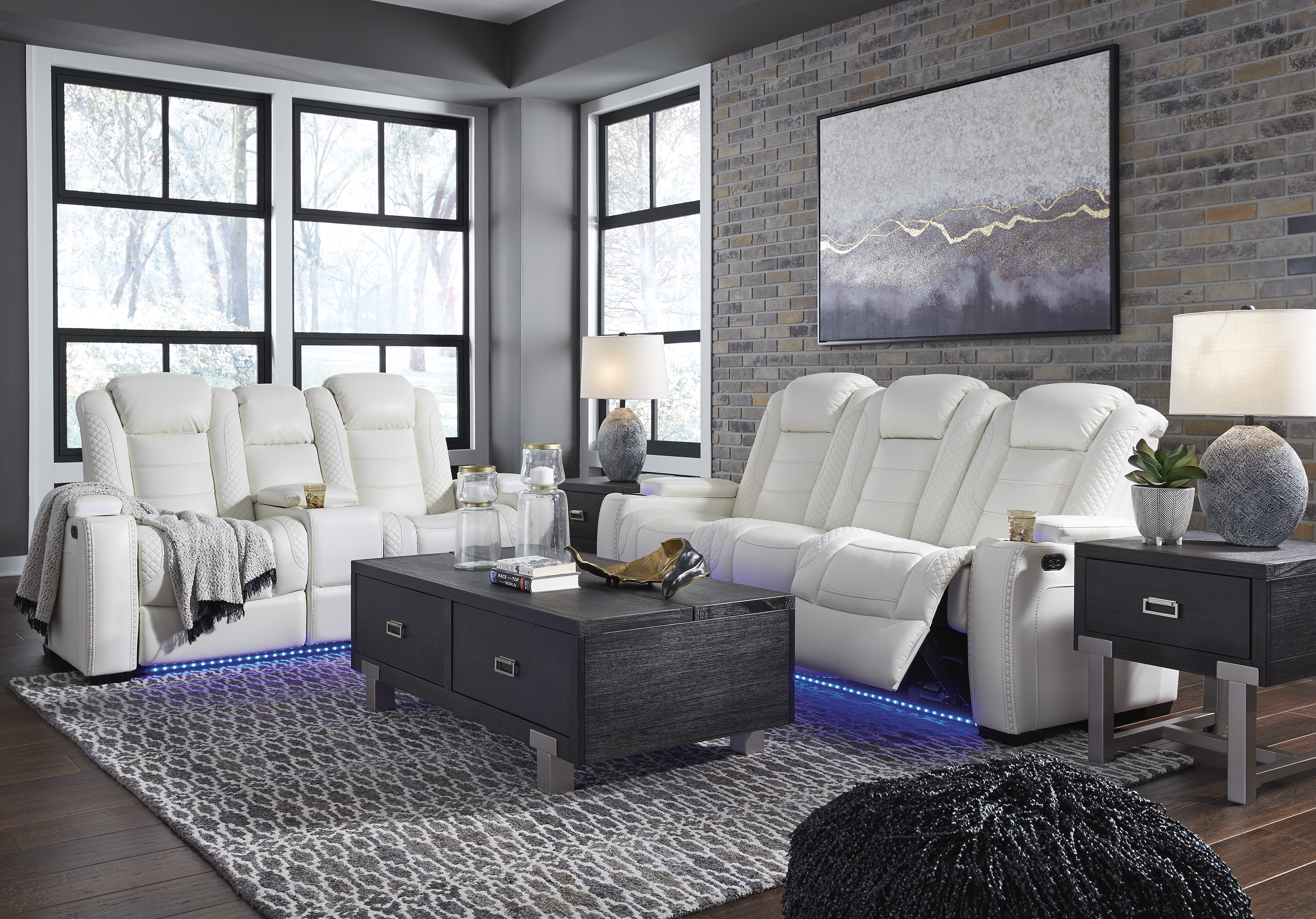 The Party Time Power Led White Reclining Collection Miami Direct Furniture