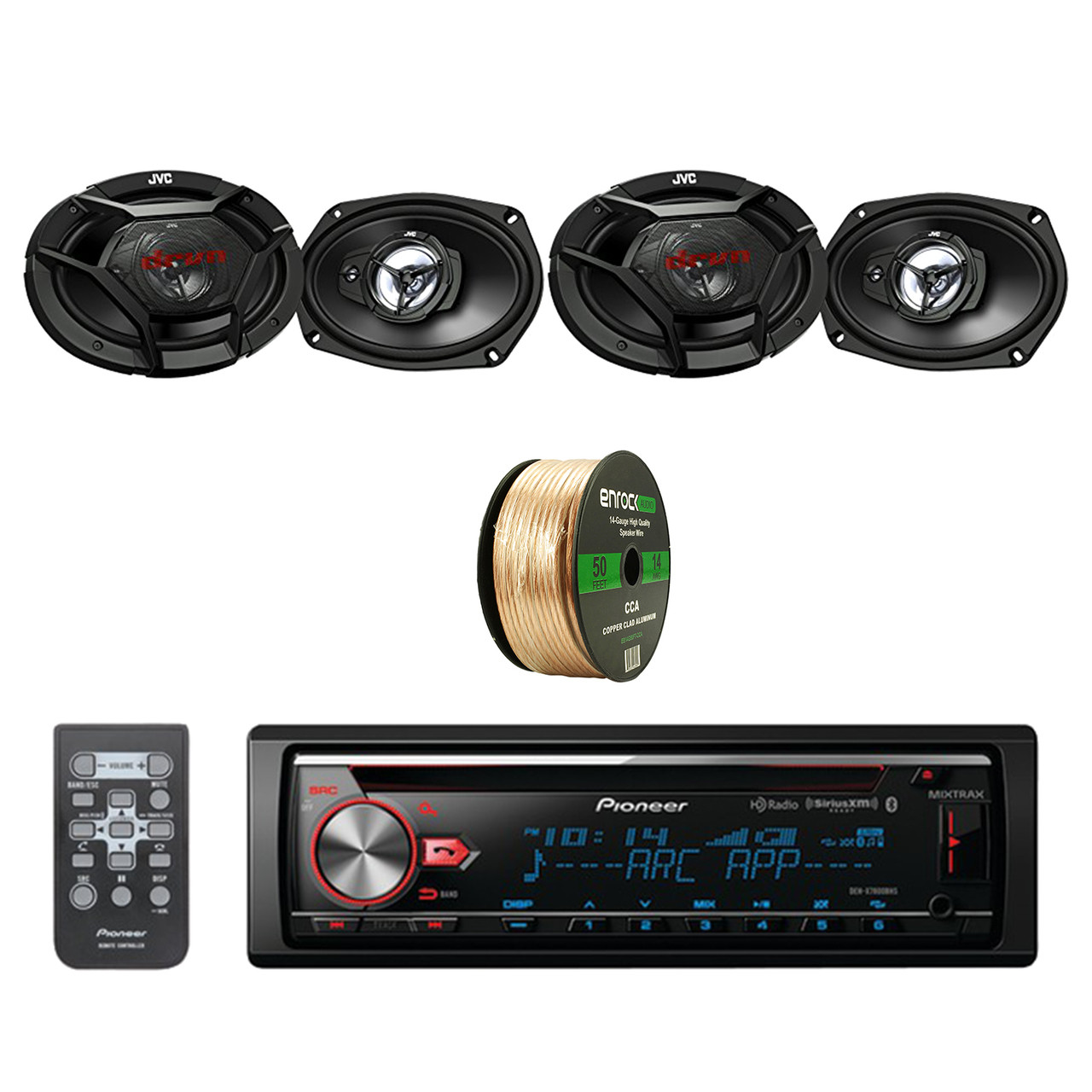 500 Watt Pioneer Cd Bluetooth Receiver W Enhanced Audio Functions With Jvc 500 Watt Peak 6 9 Inch 3 Way Factory Upgrade Coaxial Speakers 2 Pairs Enrock Audio
