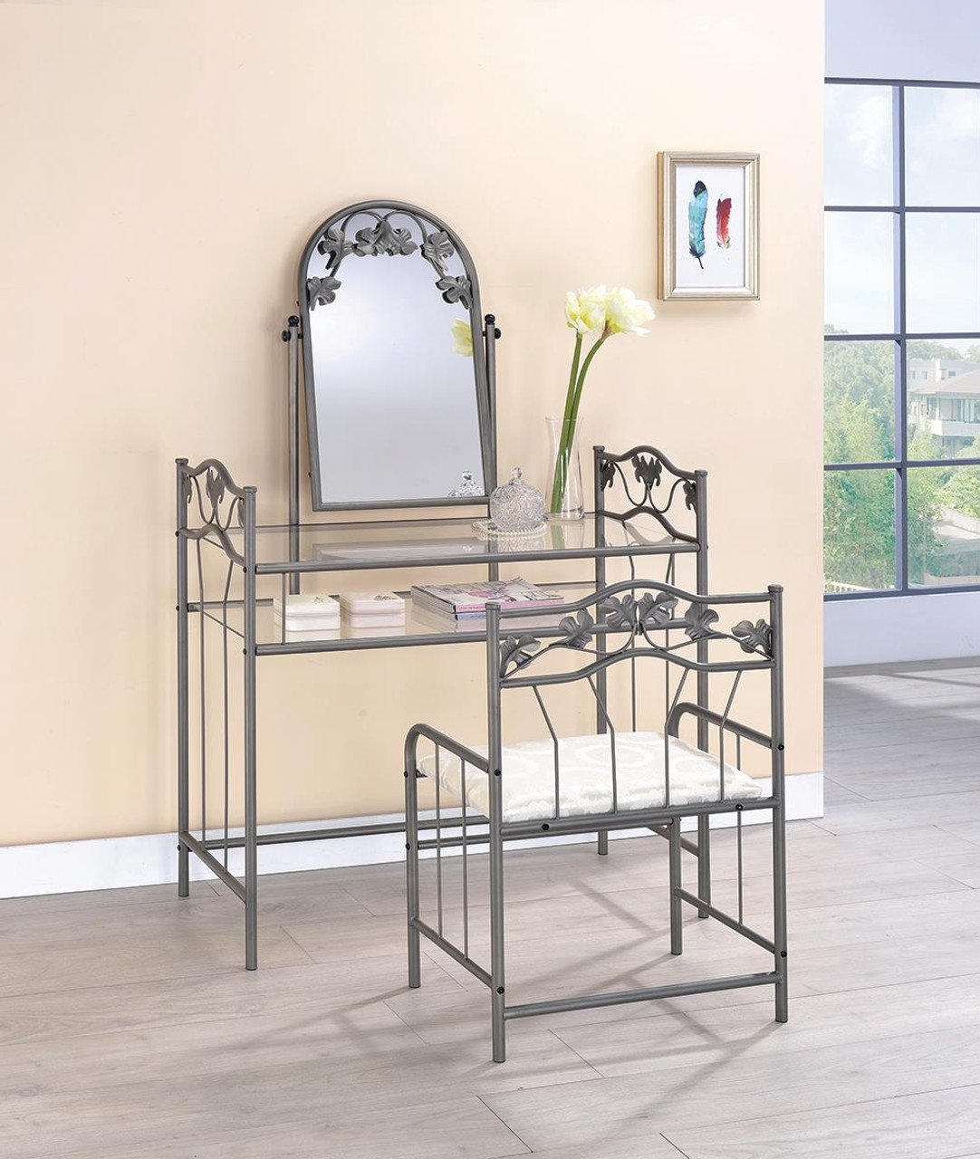 Coaster Ivory 2 Piece Metal Vanity Set With Glass Top Pewter And Ivory 2734 On Sale At Spokane Furniture Company Serving Spokane Post Falls Coeur D Alene Wa Spokane Valley Post Falls