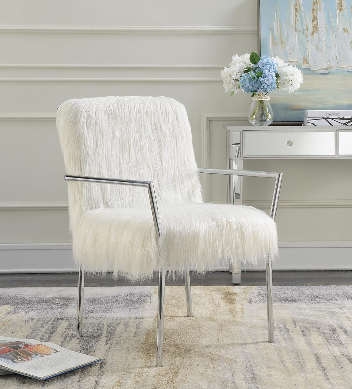 Coaster White Faux Sheepskin Upholstered Accent Chair With Metal Arm White 904079 On Sale At Spokane Furniture Company Serving Spokane Post Falls Coeur D Alene Wa Spokane Valley Post Falls And