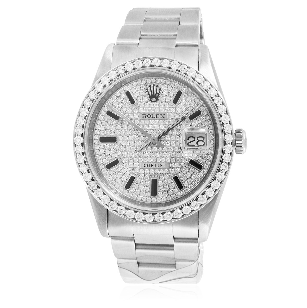 Stainless Rolex Rolex Datejust Ii Stainless Steel 4ct Diamond Dial Automatic Men S Watch