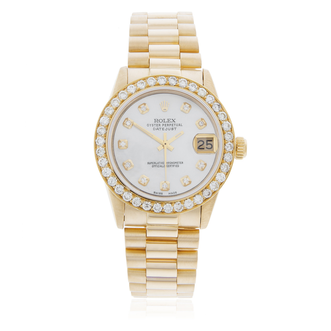 Rolex Ladies Watches Rolex Lady Datejust 18k Yellow Gold President 2 5ct Diamond Bezel Automatic Women S Watch