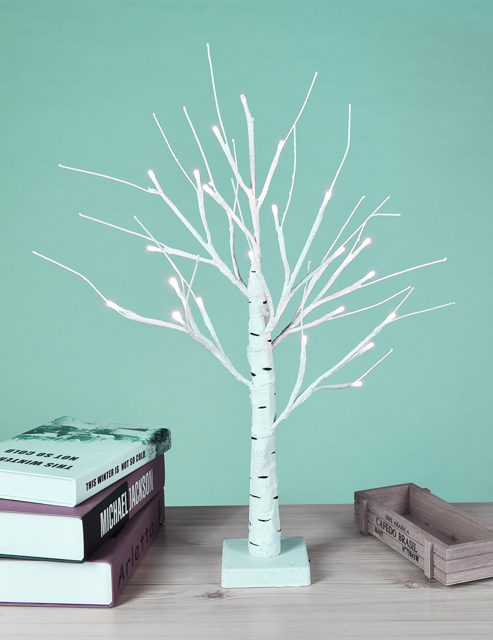 Led Light Shop 24 Lightshare Birch Tree 18 Table Lamp 24 Led Lights Warm White Battery Operated