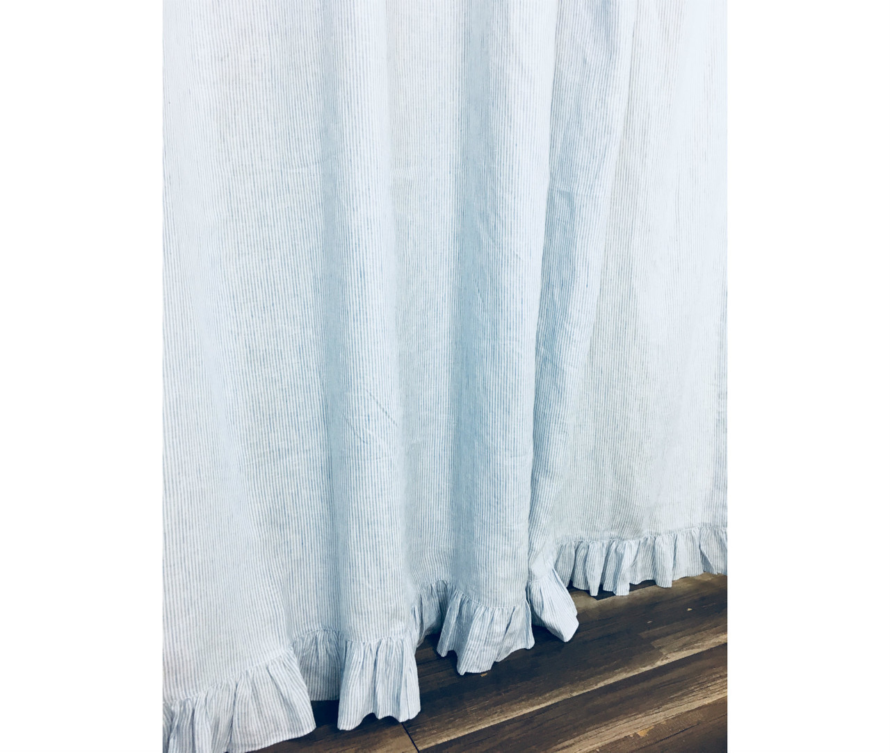 Linen Stripe Shower Curtain Blue And White Ticking Striped Linen Shower Curtain With Self Ruffles