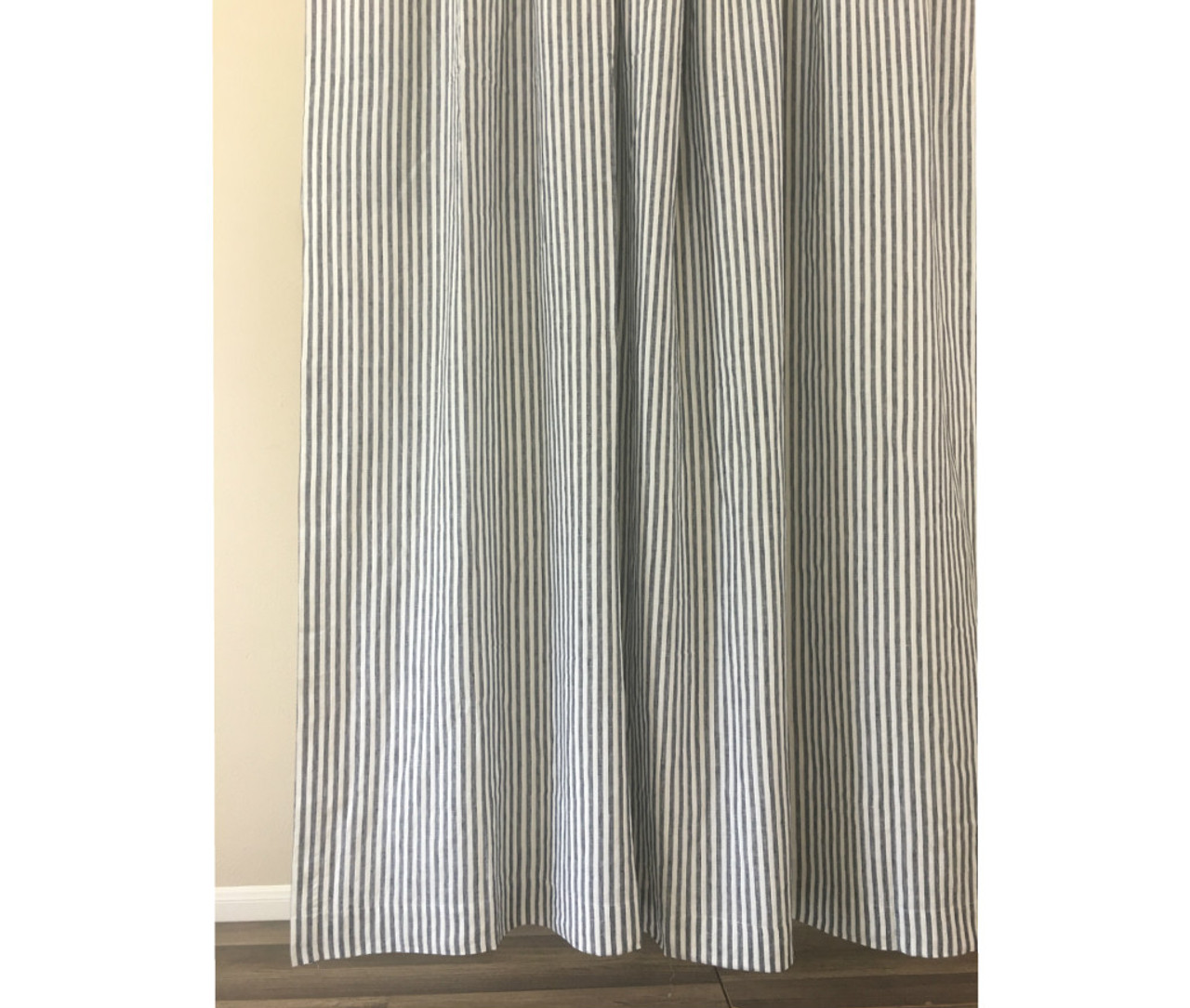 Linen Stripe Shower Curtain Slate Gray And White Striped Linen Shower Curtain