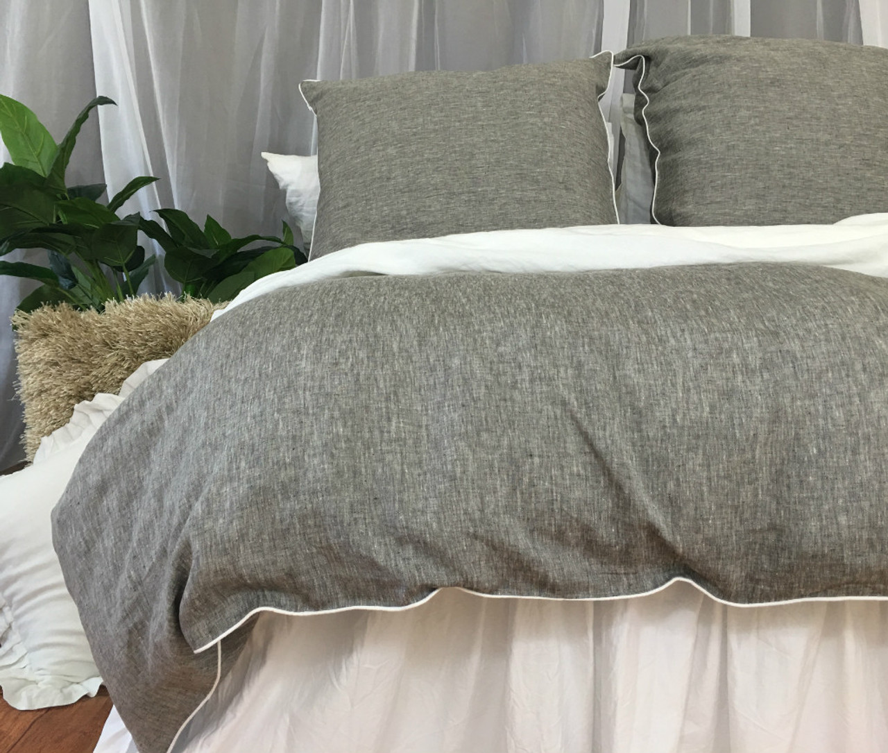 Soft Duvet Covers Chambray Grey Linen Duvet Cover With Soft White Piping